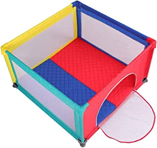 XHJYWL Playpen Children s Play Fence Indoor Home Baby with Mattress  Kid s Safety Activity Center  Extra Tall 70cm  Size 120x120cm