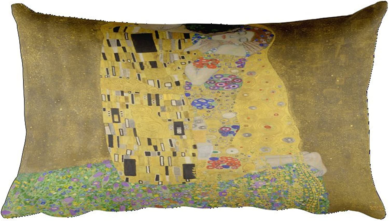 Gustav Klimt's The Kiss 0019  Rectangular Pillow Case w  stuffing