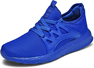 NUWFOR Men's Fashion Casual Mesh Lace Up Solid Sport Running Shoes Lightweight Sneakers(Blue,10 M US Length:10.6