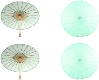 Koyal Wholesale 32-Inch Mint Paper Parasol, 4-Pack Oriental Umbrella for Wedding, Party Favors, Summer Shade