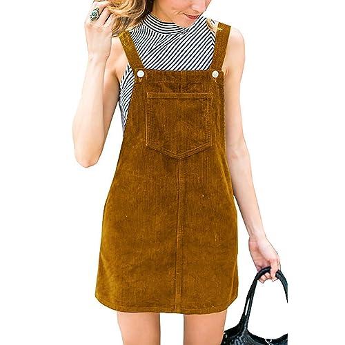 a8cd5eaa761 Salimdy Women s Corduroy Suspender Pinafore Bib Overalls Skirt Dress Pocket