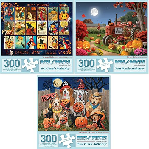 """Bits and Pieces - Value Set of Three (3) 300 Piece Jigsaw Puzzles for Adults - Each Puzzle Measures 18"""" x 24"""" - 300 pc Halloween Collection Jigsaws by Artist William Vanderdasson"""