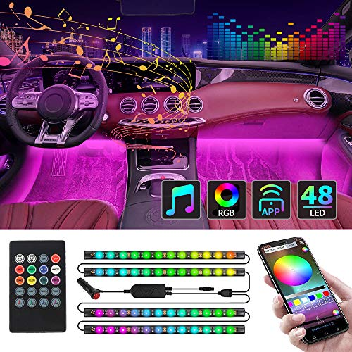 CT CAPETRONIX Interior Car Lights Car Led Strip Lights Interior with APP and IR Remote Upgrade 2in1 4pcs Waterproof RGB 48 LEDs Music Car LED Lights Under Dash Lighting Kit with Car Charger DC 12V