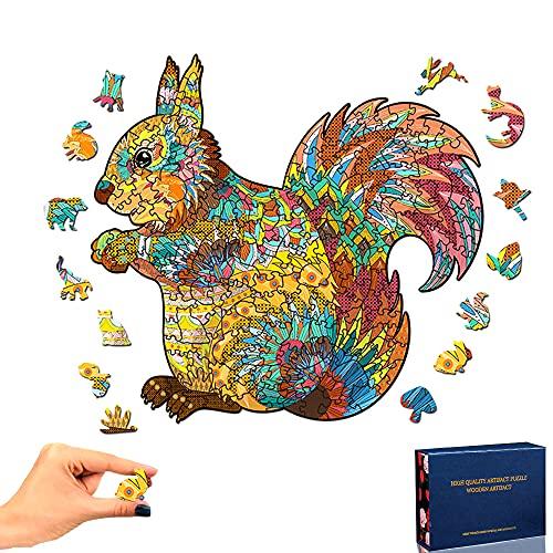 Rompecabezas de Madera, Ardilla Puzzle de Madera Piezas de Rompecabezas de Formas únicas Puzzle Animales 3D para Adultos y Niños Colección de Juegos Familiares Regalo (Ardilla)