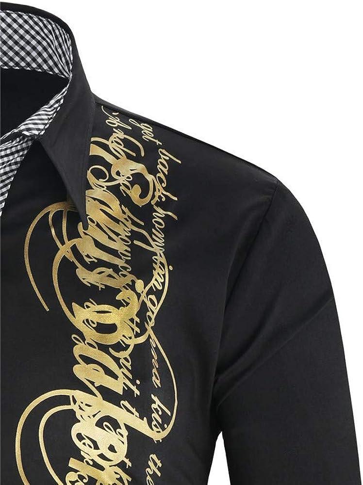 Jinyaun Camisas Hombre Camisa Negra Dorada: Amazon.es: Ropa