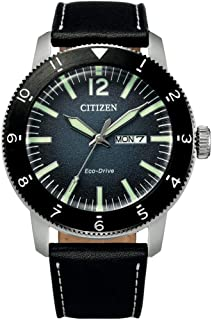 CITIZEN Mens Eco-Drive Watch, Analog Display and Leather Strap - AW0077-19L