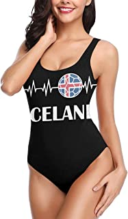 YING Iceland Football Cardiogram Women's Quick Drying One Piece Swimsuits Elasticity Bathing Suit Swimwear Soft Cup