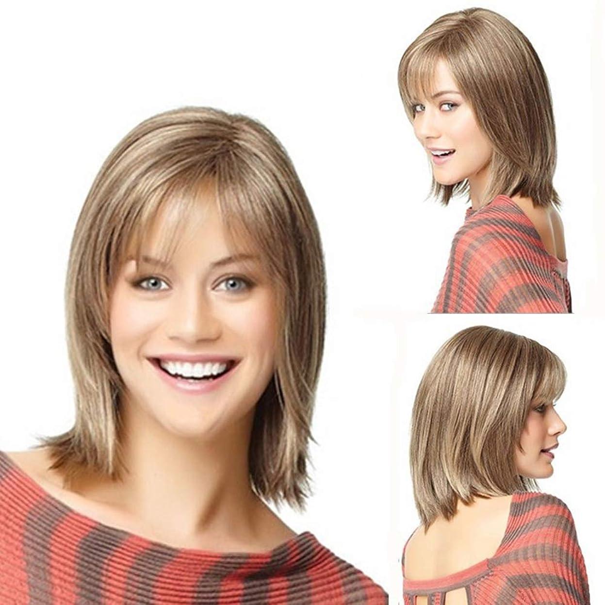 広告干渉一貫性のないWASAIO 女性のショートカーリーウィッグブロンド前髪付きストレートボブストレートヘア (色 : Blonde)