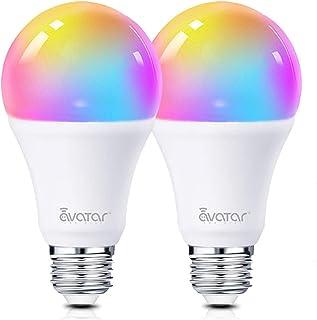 Bombilla Inteligente E27 WIFI de 8W LED Compatible con Alexa, Google Home, Control de Voz, Color Ajustable, Temporizador, Smart Bulbs para Decoración/Bar/Restaurante (juego de 2)