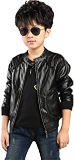 Boy's Trendy Stand Collar PU Leather Moto Jacket Leather Coat (3-12) T