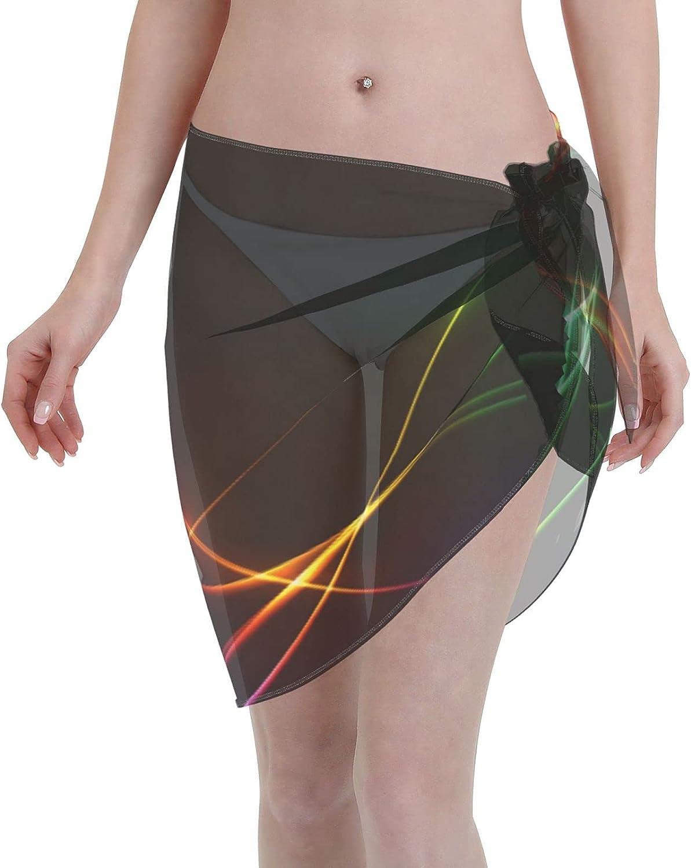 Colorful Neon Lines Wave Colorful Women Short Sarongs Beach Wrap Sheer Sexy Short Skirt Bikini Scarf Chiffon Cover Ups for Swimwear