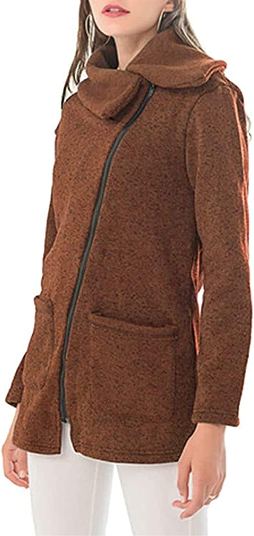 HSY SHOP Women Winter Vintage Warm Jacket Tops Casual Pocket Outwear Oblique Zipper Lapel Hip Length Slim Jacket