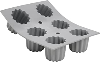 "de Buyer 1834.21 ELASTOMOULE Silicone Mold, 6 'Canelés' fluted cakes, 8.25"" x 7"" Gray"