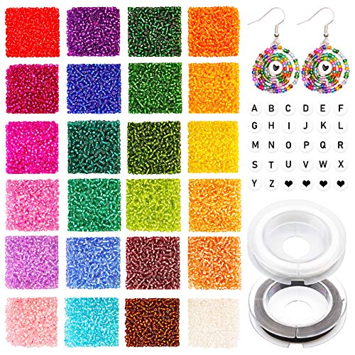 7200pcs 2mm 12/0 Bead Craft Kit Set, Glass Seed Beads Small Craft Beads Glass Pony Beads and 270pcs Letter Alphabet Beads with 2 Rolls of Cord for DIY Bracelet Necklaces Jewelry Making Supplies Kit