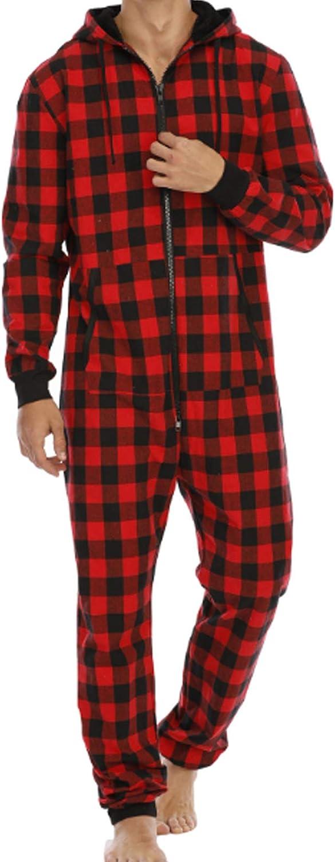Men's Pajamas Set Long Sleeve Pajama Sleepwear red M