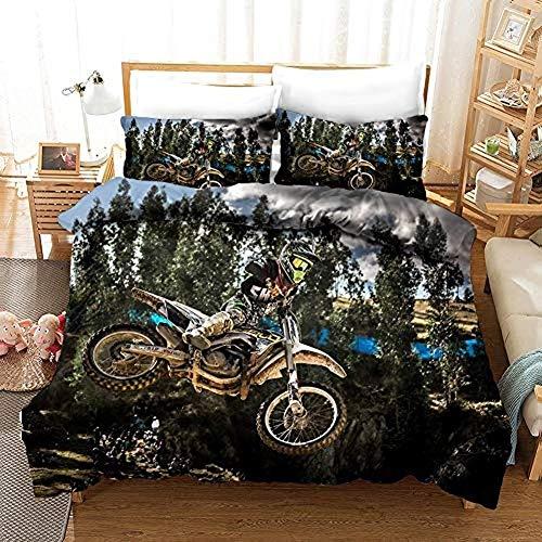 332 Best Children's/Boy/Girl/Car Bedding Set with Motocross Motif Duvet Cover 135 x 200 cm and Pillowcase 50 x 75 cm Microfibre, A05, 200 x 200 cm