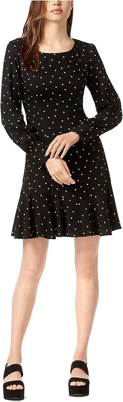 Bar III Women's Chic Ruffle Hem Fit & Flare Polka Dot Dress