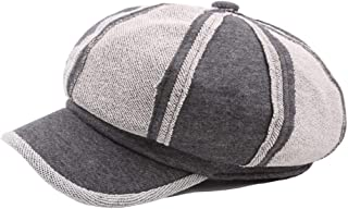 Outdoor Beret Cap Winter Autumn Wool Ladies Cotton Men's Wool Stitching Octagonal Cap Casual Painter Hat College Wind Pumpkin Hat` TuanTuan (Color : Gray, Size : 56-58CM)
