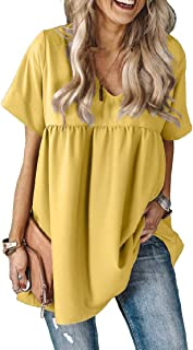 Zimaes Womens Dress Pleated V-Neck Loose Short Sleeve Blouse Tunic Tops Shirts