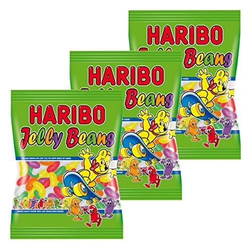 Haribo Jelly Beans, 3er Pack, Gummibärchen, Weingummi, Fruchtgummi, Im Beutel, Tüte, 175 g