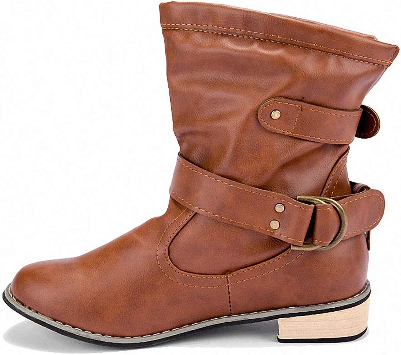 York Zhu Women Boots,Women's Knee High Low Hidden Wide-Calf Boots