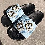 LJJYF Sandalias de Piscina Mujer Sandalia Antideslizantes Zapatillas de Baño,Sandalias de Mezclilla artesanales de Verano Zapatillas Planas con Botones Planos XL-Light_blue-EU35