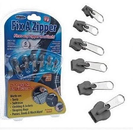 6pcs Fix Zipper di Riparazione del Rimontaggio Kit Universale in Metallo E Plastica Zip Slider Denti Cerniere Colore Casuale