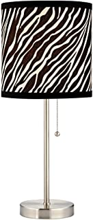 Pull-Chain Table Lamp with Zebra Drum Shade