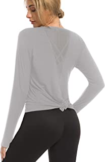 Bamans Women's Long Sleeve Workout Shirts Cute Sexy Mesh Open Back Yoga Tops Gym Running Sports Shirts with Thumb Holes