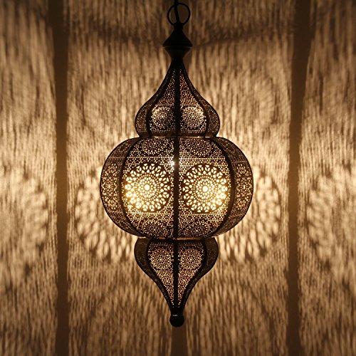 Casa Moro Orientalische Lampe Moulouk schwarz mit E27 Fassung & Baldachin & Hängekette | Prachtvolle Pendelleuchte für tolle Lichteffekte wie aus 1001 Nacht | Kunsthandwerk aus Marokko | LN2000