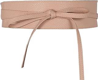 Women Soft Leather Obi Belt Self Tie Wrap Cinch Belt