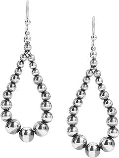 Sterling Silver Native Pearl Beaded Hoop Dangle Earrings 2-3/4 Inch