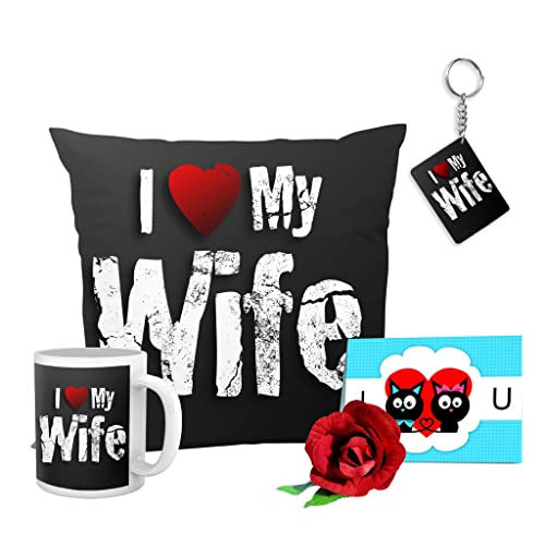 TIED RIBBONS Valentine Day Gifts for Wife I Love My Wife Combo (Cushion, Coffee Mug, Keyring,Greeting Card and Rose)