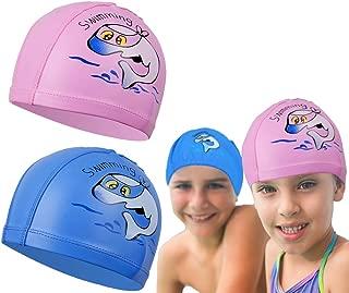 Lopbraa 2 Pcs Swimming PU Fabric Caps, Unisex Waterproof Coating Cloth Water Sports Hat Cartoon Pattern Long Hair Hat for Boys Girls Children Kids Age 5+