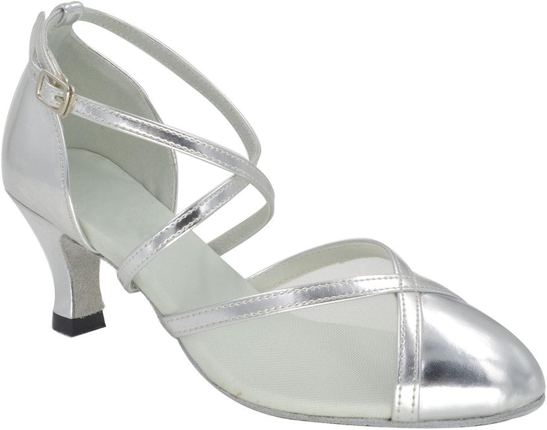 Misu Women's Closed Toe Suede Sole Latin Salsa Tango Practice Ballroom Dance shoes with 2.5  Heel Silver
