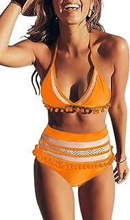 ef7939447855d Bdcoco Women's High Waist Two Pieces Bikini Set Padded Stripe Tassel  Swimsuit