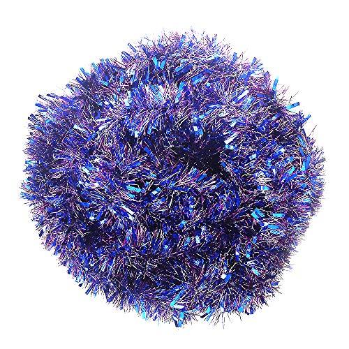 VEYLIN Lametta-Girlande für Zuhause, 10 m, Blau / Violett / silberfarben