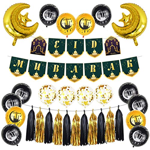 Eid Mubarak Dekoration Kit, Ramadan Mubarak Party Decoration Liefert Aluminiumfolie Latex Ballons Banner Set, Eid Mubarak Hängende Dekoration Set für Partyurlaub Dekoration Requisiten