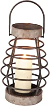 Foreside Small Rustic Cage Wire Metal Pillar Candle Holder