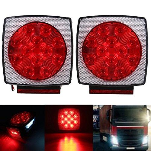 MOMOALA 12V Camion Remorque LED Carré Arrière Lampe De Frein Plaque De Queue Lumières Goujon Mont Rouge Orange Blanc