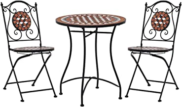 vidaXL Mosaic Bistro Set 3 Piece Outdoor Garden Patio Table and Chairs Seating Seat Sitting Dining Furniture Set Ceramic T...