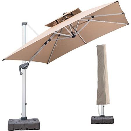 lkinbo 10 ft square cantilever umbrella with cover 360 degree rotation offset patio umbrella heavy duty large outdoor hanging umbrella with easy tilt