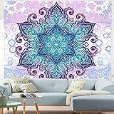 Tapiz de mandala indio para colgar en la pared tapiz psicodélico bohemio colorido tapiz hippie misterioso y estético para dormitorio sala de estar decoración de pared tapiz artístico(Verde)(L)