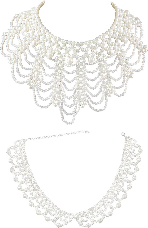 2 Pcs White Faux Pearl Beaded Handmade False Necklace Set San Genuine Diego Mall Collar