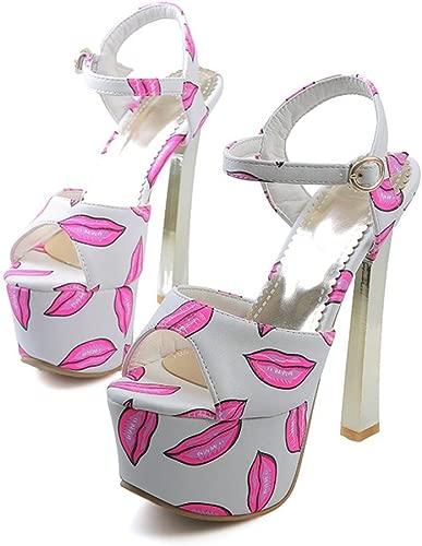 Lippen Druck Blaume Sommer Fisch Mund High Heel Sandalen Wasserdichte Plattform Splice One Wort Schnalle Frauen Party Kleid Sexy Schuhe 15 cm