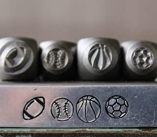 5mm and 6mm Sport Ball Metal Punch Design Jewelry 4 Stamp Set
