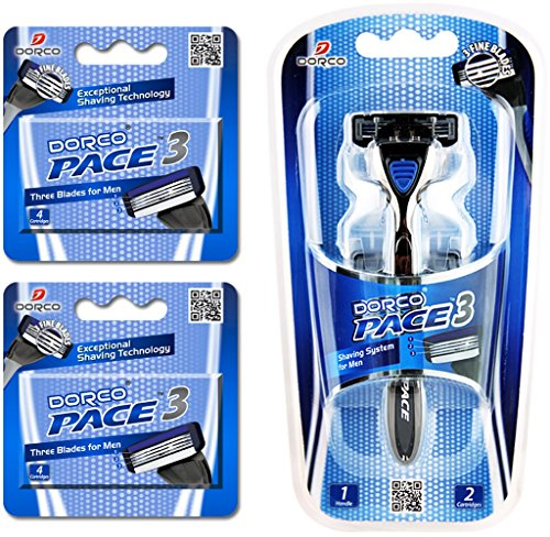 Dorco Pace 3- Three Razor Blade Shaving System- Value Pack (10 Cartridges + 1...