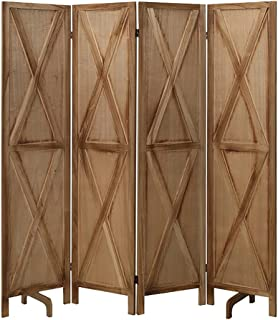 """ECOMEX 4 Panel X-Shaped Wood Room Divider, 16"""" Wide..."""