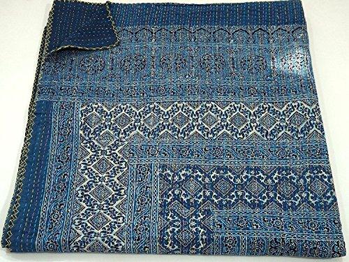 Sophia-Art Blue Kantha Quilt Hand Stitch Block Print Kantha Ajrakh Bed-Cover, Indian Bohemian Kantha Ajrakh Quilt