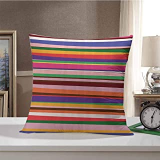 Striped Decor Home Decorative Throw Pillows Case Gradient Artistic Optical Nostalgic Concept Shapes Funky Vintage Design Pattern Pillow Cover for Sofa Chair 18 x 18 Inch Violet Orange